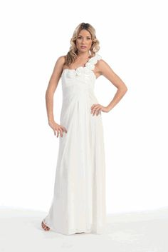 Simple Chiffon Gown $65. This would be perfect for a beach wedding or as a reception dress.