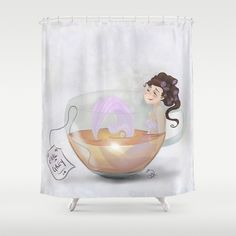 Earl Gray, Shower Curtains, Grey, Prints, Gray