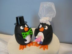 Free standing Bride and Groom  Penguins Wedding Cake by PawsnClaws