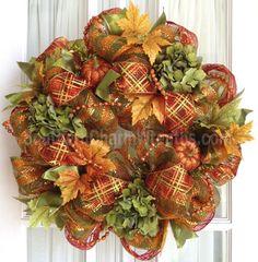 Deco Mesh FALL Wreath Orange Lime Hydrangeas Glitter Pumpkins