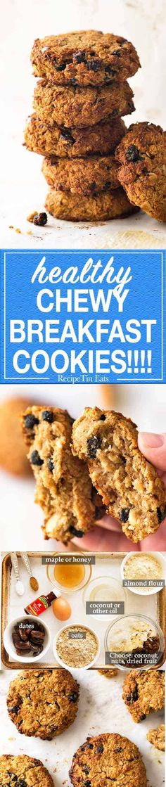 Healthy Oatmeal Breakfast Cookies are like a bowl of granola - in cookie form! Moist and chewy, gluten free, refined sugar free and super low fat! Oatmeal Breakfast Cookies, Healthy Oatmeal Breakfast, Breakfast Dishes, Breakfast Recipes, Eat Breakfast, Breakfast Casserole, Breakfast Ideas, Small Batch Cookie Recipe, Recipetin Eats