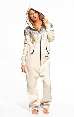 must have adult onesie = crystal jumpsuit in cream white with navy / onepiece.com