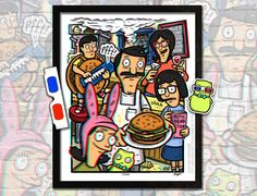 Bob's Burgers 3D Poster with included glasses. Limited Edition, signed and numbered by Illustrator Brad Albright www.AlbrightIllustration.com
