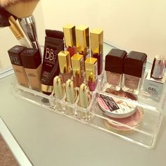 Makeup Organizer  This clear acrylic Makeup Organizer holds foundations, brushes, 9 Lipsticks/Glosses, highlighters and even nail polish  Makeup Brushes & Tools