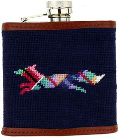 Limited Edition Longshanks Needlepoint Flask in Blue by Smathers & Branson Branson Shows, Get The Party Started, Preppy Outfits, Needlepoint, Flask, Coin Purse, Blue, Tartan, Pocket