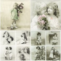 """4x Single Party Lunch Paper Napkins for Decoupage Craft """"Vintage Girls"""" Mix"""