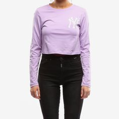 b1f500483 Majestic Athletic Women s Yankees Gothic Long Sleeve Crop Tee Lavender. Culture  KingsCrop ...