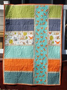 Colorblock baby boy quilt with fox fabric                              …