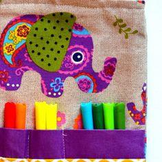 """Χειροποίητη Yφασμάτινη Τσάντα Δραστηριοτήτων """"HIPPIE ELEPHANT"""""""