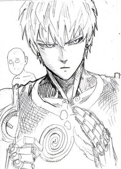 Genos and Saitama One Punch Man Funny, One Punch Man Manga, Saitama, Opm Manga, Dibujos Anime Chibi, Anime Lineart, Man Sketch, Anime Drawings Sketches, Anime One