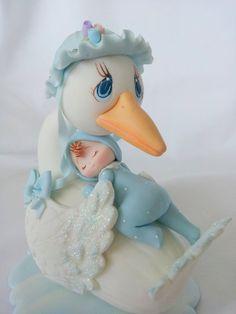Stork cake topper. baby boy stork cake topper. baby shower cake topper. Cake topper. baby cake topper.