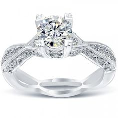 1.55 Carat E-SI2 Certified Natural Round Diamond Engagement Ring 14k White Gold - Liori Exclusive Engagement Rings - Engagement - Lioridiamonds.com