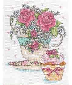 Teacup Roses Cross Stitch Kit £20.50   Design Works   Past Impressions