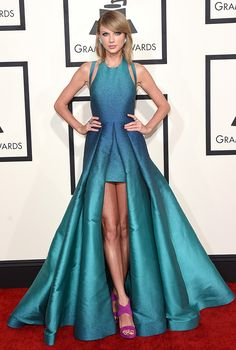 Yes, you can flaunt your incredible gams and wear a gown, as Elie Saab and Taylor Swift proved in the singer's ombre confection.