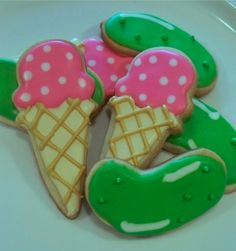 Pickle and ice cream cookies. cute baby shower cookie