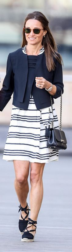 Pippa Middleton wore Kate Spade Bea Stripe Talita Dress  http://www.dailymail.co.uk/femail/article-4557314/Pippa-Middleton-James-Matthews-spotted-Sydney.html  http://www.dailymail.co.uk/news/article-4557400/Pippa-Middleton-James-Matthews-honeymooning-Sydney.html