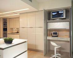 contemporary kitchen design armoire desk small home office ideas Home Desk, Home Office Desks, Home Office Furniture, Apartment Office, Office Nook, Ikea Furniture, Apartment Ideas, Furniture Ideas, Kitchen Desks