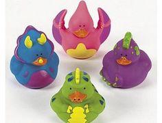 4 Dinosaur Themed Rubber Ducks