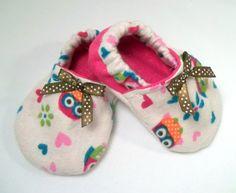 Cream & Glitter Pink Baby Girl Owl Flannel by SweetSeasonsDesigns, $15.00