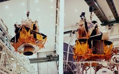69-HC-1048 ( 136k or 853k ) Two views of LM-7 being moved from altitude chamber to low bay work stand at Manned Spacecraft Operations Building at the Cape. Photo dated 10 October 1969. Scan by Kipp Teague.