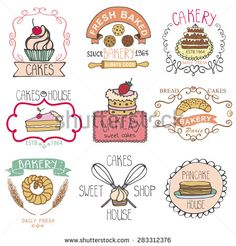 Vector Bakery Badges,Labels,logos.Vintage Retro hand sketched doodles design elements (pancake,pie, wheat ear, cake icons). Vector logotype,doodle cakery,baked sweet shop. - stock vector
