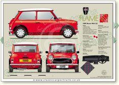 Mini Flame 1989 classic car portrait print