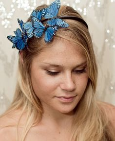 Wear your AIR Energy! Blue Butterfly Woodland Headband by neesiedesigns on Etsy,#aclearplace