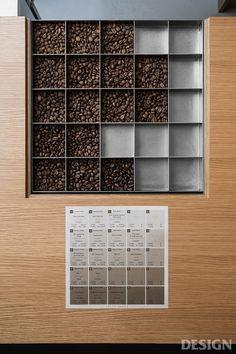 _ Yosuke Hayashi from studio designed KOFFEE MAMEYA which is located in Omotesando, Tokyo. Showroom Design, Cafe Design, Japan Design, Display Shelves, Shelving, Cafe Interior, Interior Design, Coffee Display, Pharmacy Design
