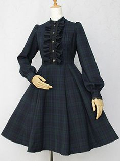 Victorian Maiden, British Check Jasmine OP The clothing culture is quite old. Baby Girl Dresses, Cute Dresses, Vintage Dresses, Vintage Outfits, Old Fashion Dresses, Fashion Outfits, Victorian Fashion, Vintage Fashion, Pretty Outfits