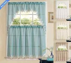 Orchard-Luxurious-Matte-Sheer-Kitchen-Curtain-Tier-Swag-Set-Assorted-Colors