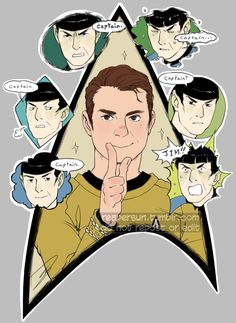 i wanted a tos sticker so i redrew one of my inktobers and put it on redbubble i still can't draw kirk right but i'm working on it