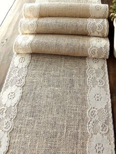 Natural Burlap Table Runner Wedding Table Runner with country cream lace rustic wedding party linens , handmade in the USA rustic burlap & lace table runner, cottage chic wedding table runner with by HotCocoaDesign, Etsy Rustic Chic, Country Chic, Shabby Chic, Modern Country, Vintage Country, Rustic Decor, Lace Table Runners, Burlap Table Runners, Lace Runner