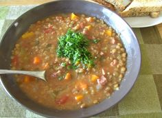 Crockpot Hearty Lentil & Ham Soup. Photo by JustJanS Doubled Added 6 carrots instead of 2 carrot Skipped tomatoes and added 3 celery stalks and three handfuls of spinach. Two cups of ham plus ham bone.