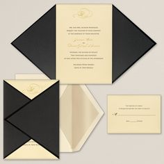 Onyx black folder wrap with metallic detailed creates the perfect layered look for your modern and classic wedding invitation.
