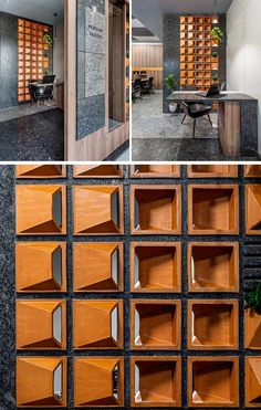 Clay Tiles Add Texture With Some Artistic Flair To This Workplace – World Etes Cladding Design, Wall Cladding, Facade Design, Door Design, Wall Design, Wall Art Designs, Office Interior Design, Interior Exterior, Office Interiors