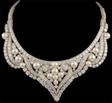 Circa 1960's David Webb Platinum Multi-Colored Pearl and Diamond Necklace. Approx. 40cts. of diamonds.