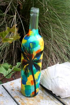Hand Painted Wine Bottle by finewinedesign i have friends that would like this Wine Bottle Flowers, Flowers Wine, Wine Bottle Art, Painted Wine Bottles, Diy Bottle, Painted Wine Glasses, Decorated Bottles, Water Bottle, Glass Bottle Crafts