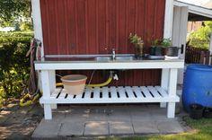 planteringsbord2 Outdoor Kitchen Patio, Outdoor Sinks, Outdoor Living, Outdoor Decor, Pergola Patio, Backyard, Sink Design, Compact Living, Summer Kitchen