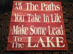 Wood plank sign lake sign by KerriArt on Etsy, $24.00