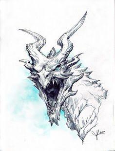 "The Art of Jennifer Kearney: Bethesda - ""Skyrim"" dragon Creature Concept Art, Creature Design, Skyrim Drawing, Skyrim Concept Art, The Elder Scrolls, Dragon Sketch, Dragon Artwork, Desenho Tattoo, Fantasy Dragon"