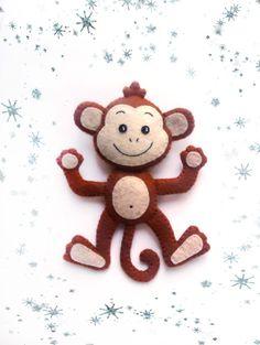Monkey Christmas Ornaments Tree Decorations Felt Plush by BelkaUA