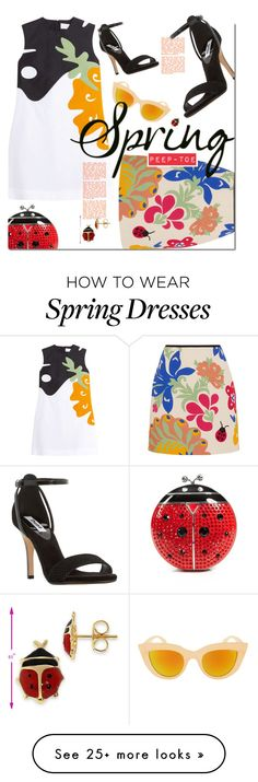 """""""Fly Away Home."""" by s-elle on Polyvore featuring Kate Spade, Victoria, Victoria Beckham, Dune, Spring, floral, peeptoe, ladybug and spring2016"""