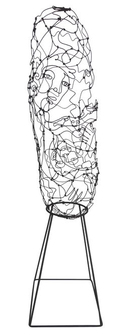 Mid-Century Hands & Faces Wire Sculpture