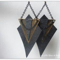 Boucles d'oreilles triangles bronze, chambre à air recyclée et chainette