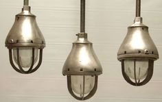 Crouse Hinds Vintage Industrial Pendant Lights Circa mid 1930's