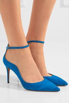 Aquazzura - Dolce Vita Suede Pumps - Bright blue - IT