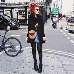 Black and denim around Paddington ❤️ wearing @unif boots!