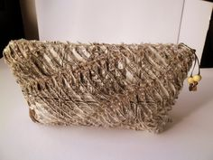 Mathers Day Gift Purse Chenille bag travel handmade  beige brown  Simple Clutch Bag for woman by homeworkart on Etsy