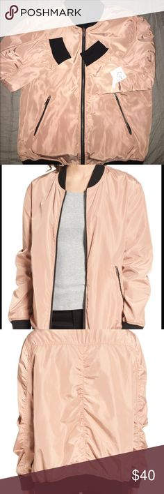 """🌈Host pick!! Reversible bomber jacket 26"""" length (size Medium) Front zip closure Rib-knit band collar Long sleeves Side zip pockets 100% polyester Machine wash cold, tumble dry low Imported BP.color is coral beach and black bp Jackets & Coats Utility Jackets"""