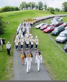 The Pride of West Virginia decends Law School Hill, a gameday tradition! This is from my freshman year! :)